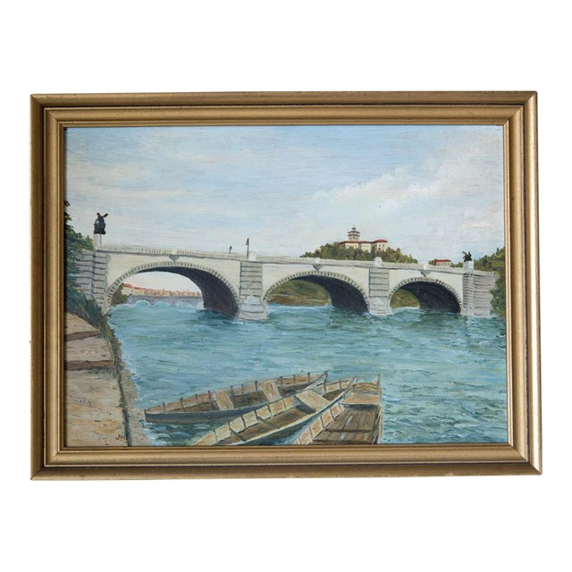 French Pont Neuf Bridge Oil on Wood Painting For Sale