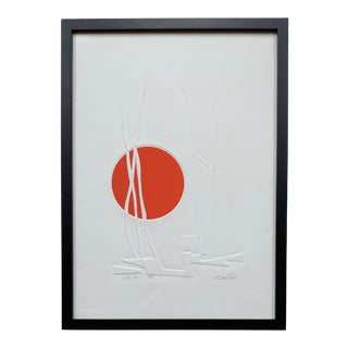 1970s Vintage Abstract Embossed Framed Print For Sale