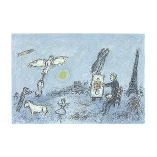 1981 Marc Chagall 'L'envolee Magique' Modernism Blue,Gray France Lithograph For Sale