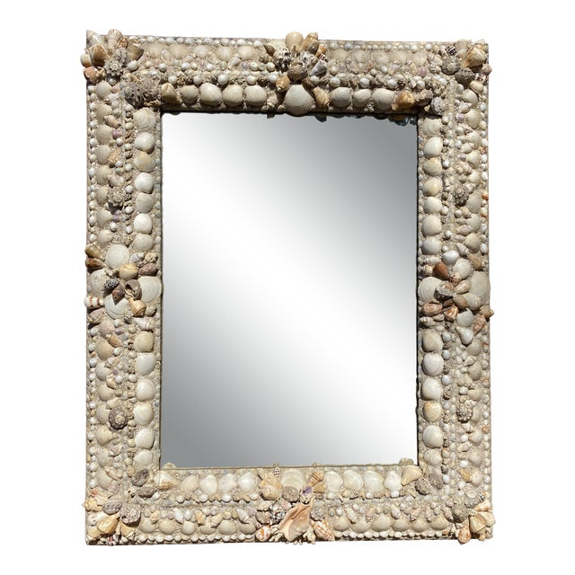 Early 20th Century Antique Shell Mirror For Sale
