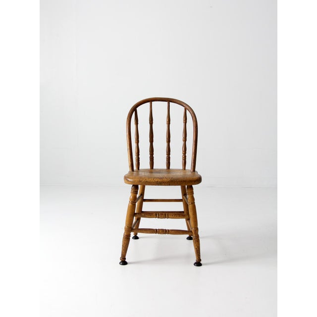 Cottage Antique Spindle Back Chair For Sale - Image 3 of 8 - Antique Spindle Back Chair Chairish