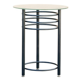 Vintage Contemporary Steel Cocktail or Center Table, Refinished in Metallic Gray For Sale