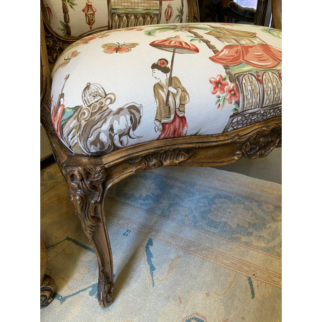 1920s French Carved Wood Chairs with Chinoiserie Fabric - a Pair For Sale - Image 9 of 10