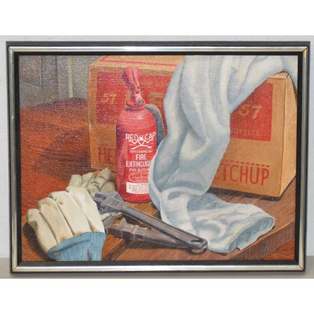 """Brown John T. Axton III (1922-2009) """"Work Bench"""" Original Realism Still Life Oil Painting For Sale - Image 8 of 8"""