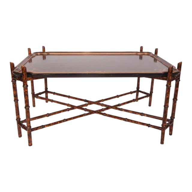 Vintage Baker Faux Bamboo Coffee Table For Sale