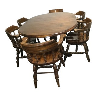 Captains Table Dining Set - 7 Pieces For Sale