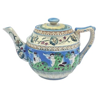Vintage Japanese Floral & Cherub Teapot For Sale