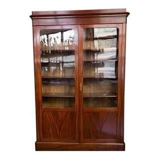19th Century Antique Louis Philippe Mahogany Bookcase For Sale