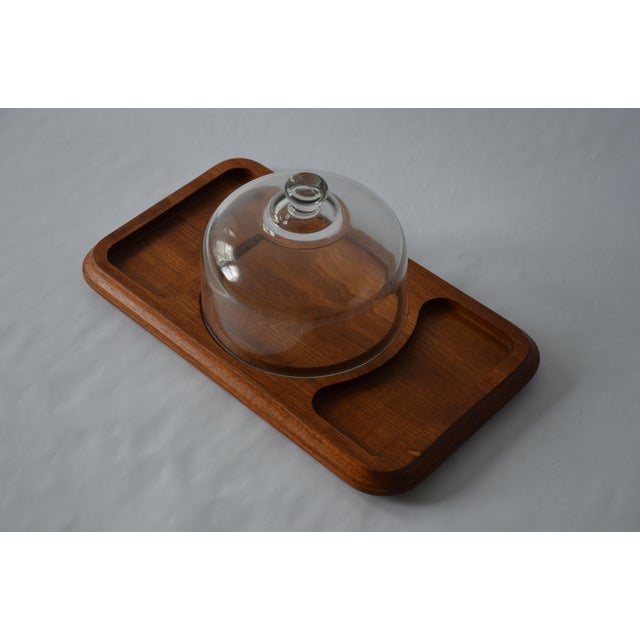 Contemporary Mid-Century Danish Modern Glass Domed Teak Cheese Serving Board For Sale - Image 3 of 9