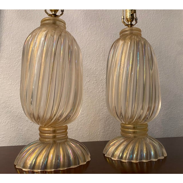 20th Century Murano Table Lamps, Italian Lamps by Barovier & Toso For Sale In West Palm - Image 6 of 12