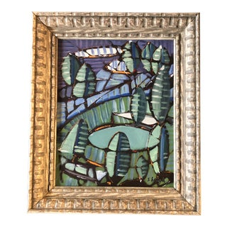 """Original Contemporary Stephen Heigh Abstract Painting """"Park"""" Vintage Carved Frame For Sale"""