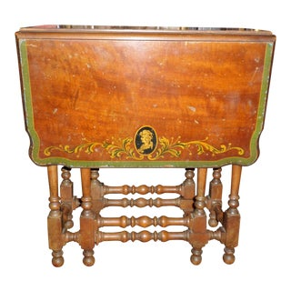 Antique Gateleg Tea Table With Hand Painted Cameo For Sale