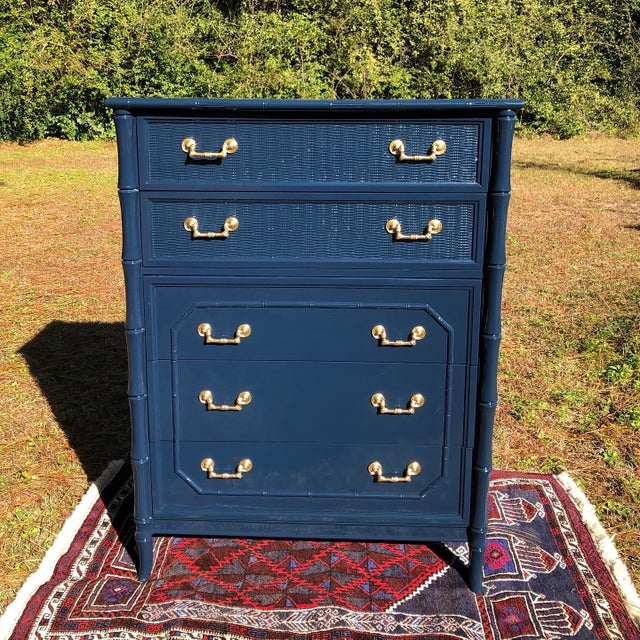 1970s Lacquered Faux Bamboo Broyhill Dresser For Sale - Image 13 of 13