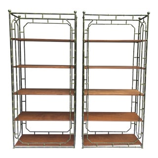 Faux Bamboo Steel Etageres, a Pair For Sale