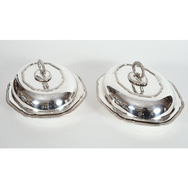 Vintage English Silver Plated Tableware Serving Dishes - a Pair For Sale - Image 9 of 12