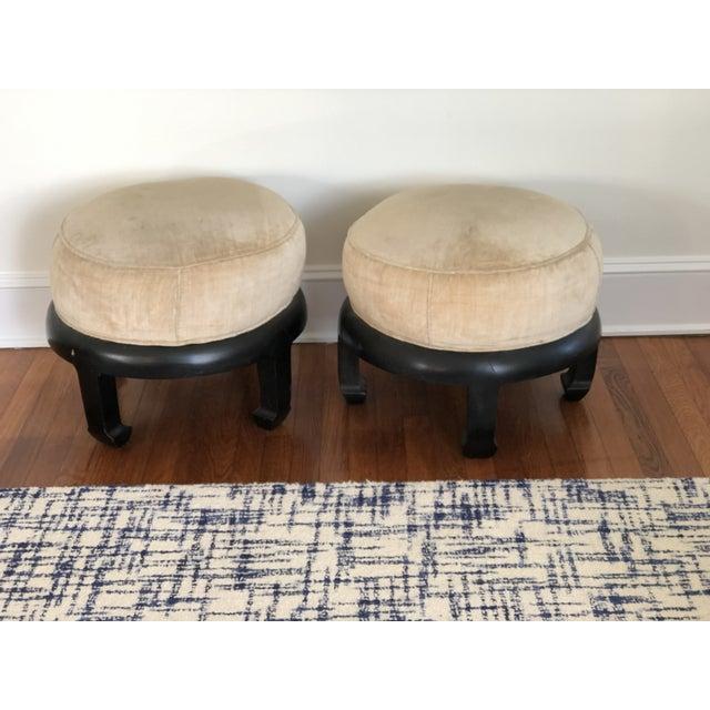 Beautiful Pair of Vintage Chinoiserie Ottomans Bill Meyer Lamps Inc. Made in Hong Kong.