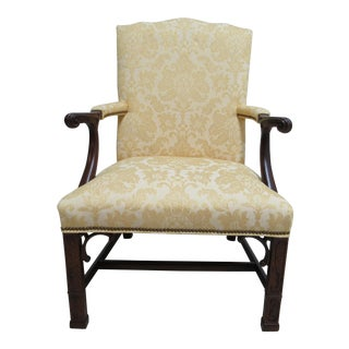 1990s Vintage Southwood Mahogany Chippendale Living Room Lounge Arm Chair For Sale