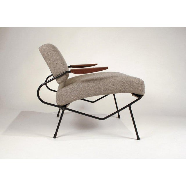 White Dan Johnson Iron Lounge Chair With Bent Walnut Plywood Armrests For Sale - Image 8 of 10