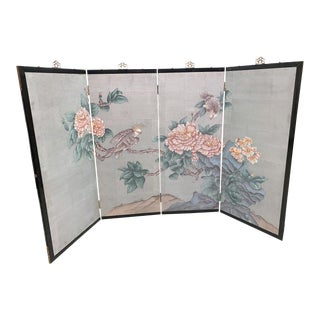Vintage Hand Painted Asian 4 Panel Privacy Screen For Sale
