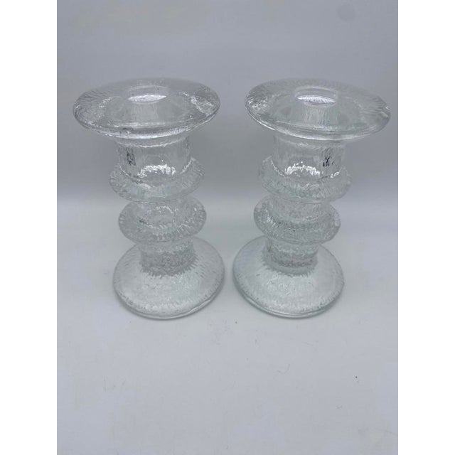 "Mid-Century Modern Mid Century Timo Sarpaneva for Iittalia Glass ""Festivo"" Candlestick Holders - Pair For Sale - Image 3 of 8"