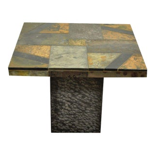 Contemporary South African Slate Inlaid Square Lamp Side End Table Decorator