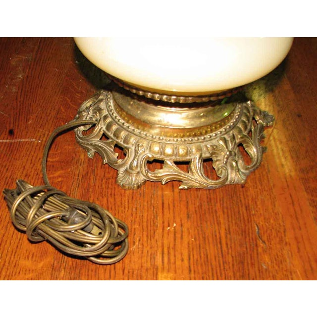 Antique Custard Glass Oil Lamp Converted to Electric For Sale - Image 4 of 4