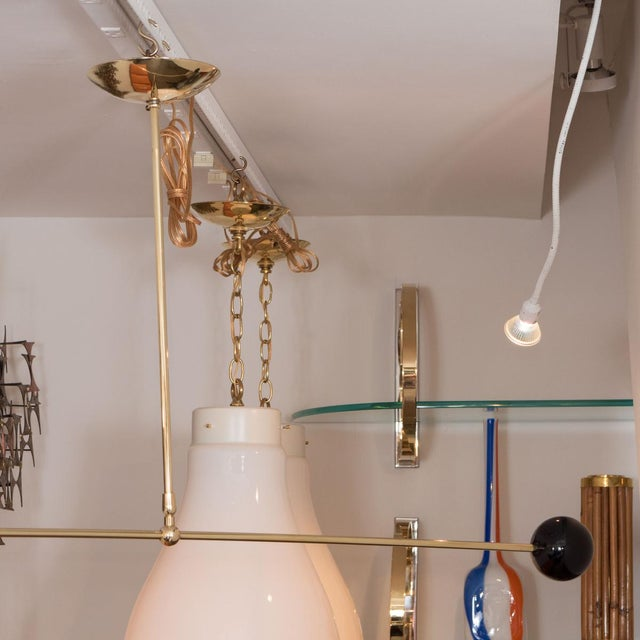 Single Arm Brass and Black Enamel Ceiling Fixture For Sale - Image 4 of 4