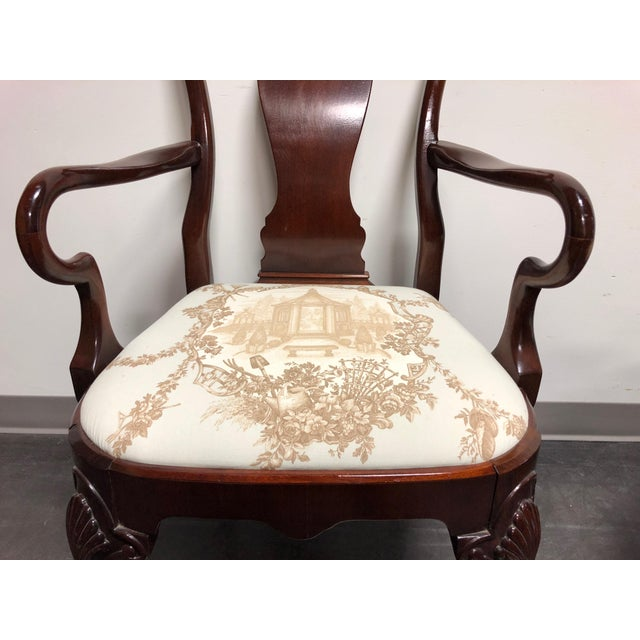 Brown Solid Mahogany Queen Anne Dining Captain's Arm Chairs - Pair For Sale - Image 8 of 11