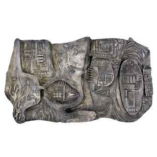 Mid Century Modern Brutalist Relief Wall Sculpture Finesse Originals Fiberglass For Sale