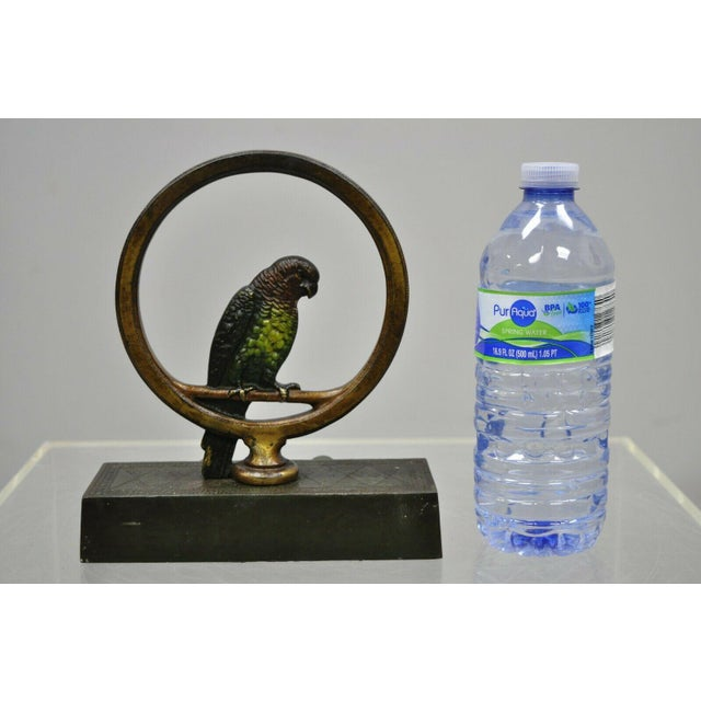 Antique Parrot on Swing Art Deco Bradley & Hubbard Cast Iron Doorstop For Sale - Image 10 of 12