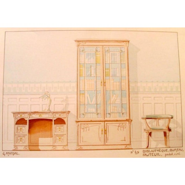 Vintage French Decorator Sheet Interior/Bookcase - Image 3 of 4