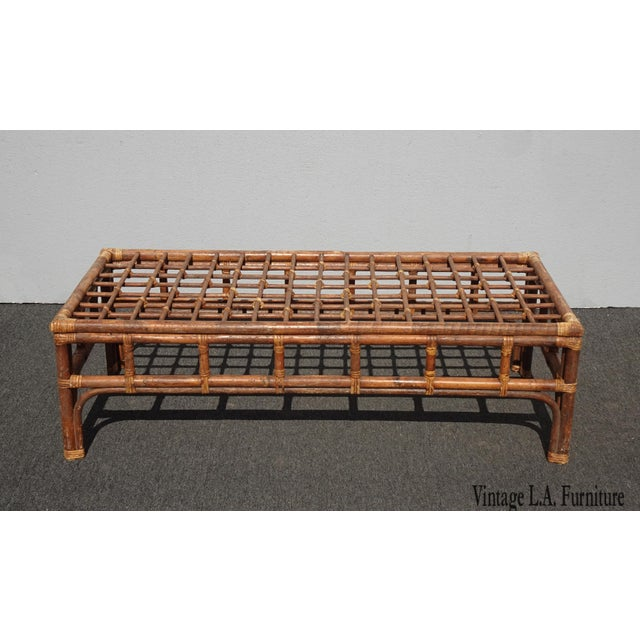 Vintage Mid Century Brown Bamboo Rattan Rustic Coffee Table For Sale - Image 11 of 11