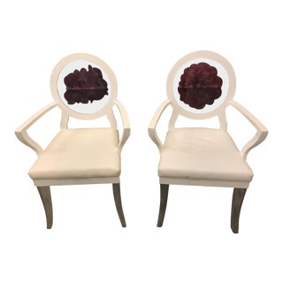 White Lacquer and Lucite Chairs - A Pair