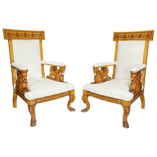 Pair of Italian Neoclassical Maple Armchairs Attributed Pelagio Palagi For Sale