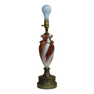 Vintage Amethyst Purple Murano Spiral Stripe Art Glass Table Lamp For Sale