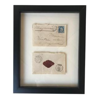 Vintage Framed French Envelope For Sale