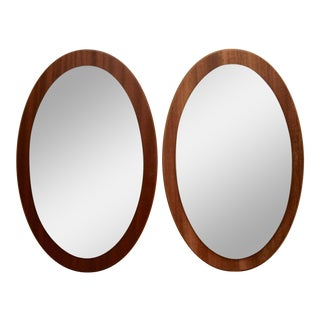 Danish Modern Oval Teak Mirrors - A Pair