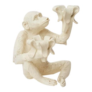 Vintage White Resin Monkey Candle Holder