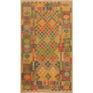 Abstract Rustic Tribal Kilim Arya Romilly Ivory/Blue Wool Rug -3'7 X 7'2 For Sale