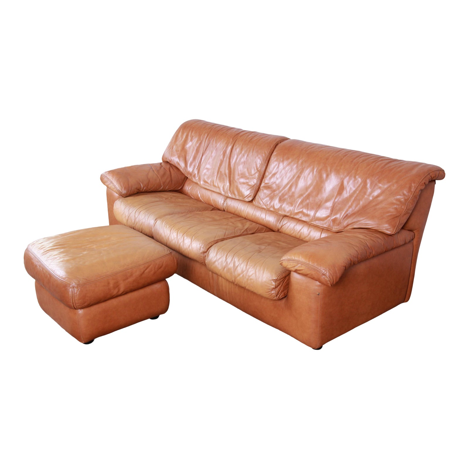 Roche Bobois Modern Brown Leather Sofa and Ottoman, France, 1970s