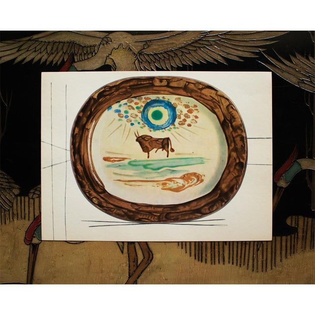 1950s 1955 Pablo Picasso a Young Bull Ceramic Plate, Original Period Swiss Lithograph For Sale - Image 5 of 6