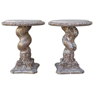 Pair of Italian Twisted Column Tables W/ Marble Tops C. 1900's For Sale