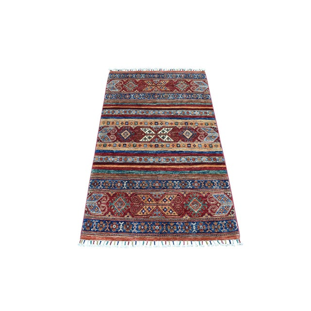Khorjin Design Colorful Kazak Pure Wool Hand Knotted Rug For Sale In New York - Image 6 of 6