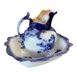Royal Doulton Burslem Flow Blue Pitcher in Basin - 2 Piece Set For Sale