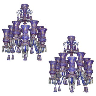 Fine Pair of Austrian Painted and Enameled Glass Chandeliers For Sale