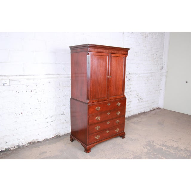 Chippendale Baker Furniture Chippendale Carved Mahogany Armoire Dresser For Sale - Image 3 of 13
