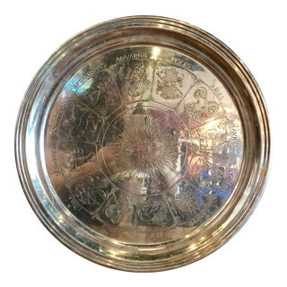 1950s Vintage Zodiac Silver Serving Tray For Sale