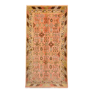 """1920s Antique Khotan Art Deco Salmon Brown Wool Hand-Knotted Rug - 4'6"""" X 8'8"""" For Sale"""