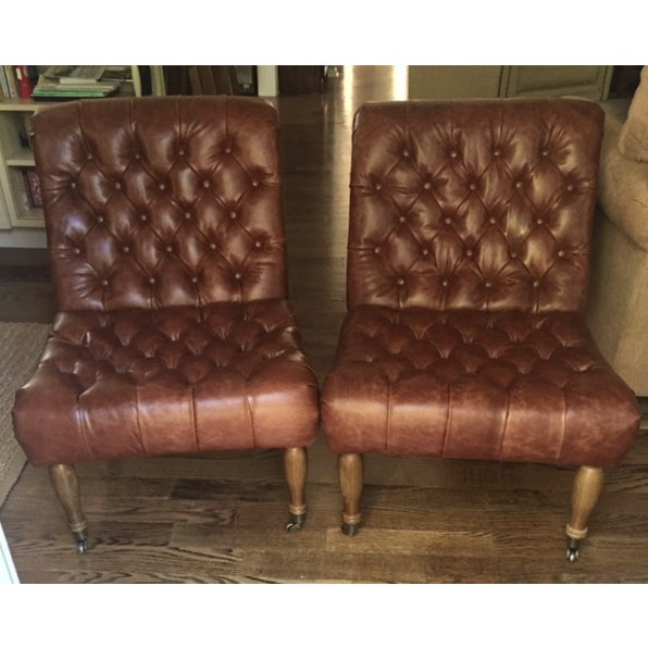 Pottery Barn Carolyn Tufted Chairs - A Pair - Image 2 of 8