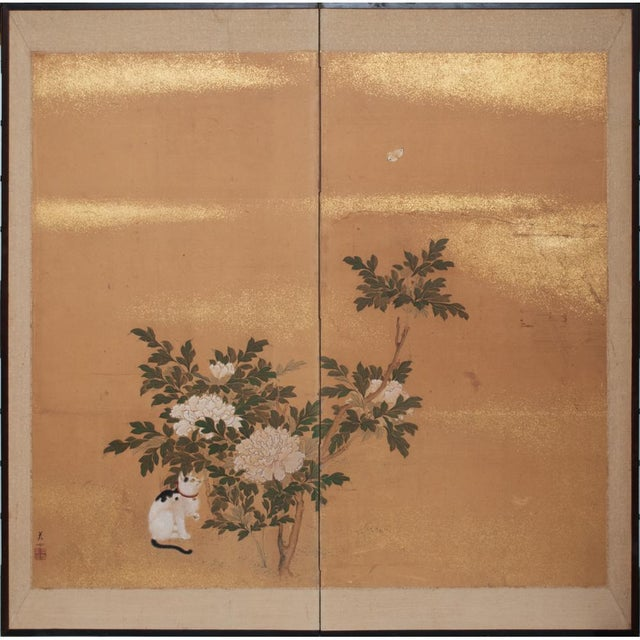 1880's Vintage Japanese Yamato-E Byobu Screen For Sale - Image 13 of 13